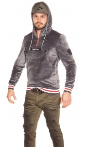 Trendy men s hoodie velvet look with patches Anthracite