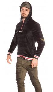 Trendy men s hoodie velvet look with patches Black