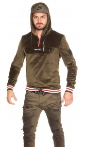 Trendy men s hoodie velvet look with patches Khaki