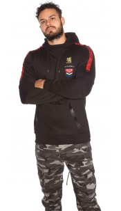 Trendy Men s Long Hoodie with Patch & pocket Black