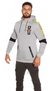Trendy Men s Long Hoodie with Patch & pocket Grey