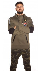 Trendy Men s Long Hoodie with Patch & pocket Khaki