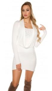 Sexy knit minidress with rhinestones White