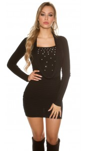 Sexy Knit-Minidress with rhinestones Black