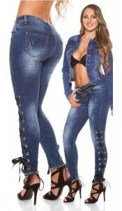Sexy skinny jeans used look with lacing Jeansblue