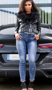 Sexy Jeans with glittering stones Jeansblue