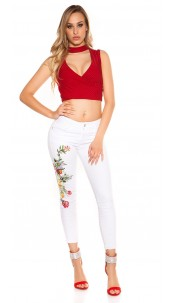 Sexy skinny jeans with floral embroidery White