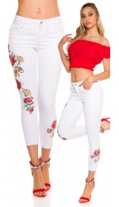 Sexy skinny jeans with embroidery White