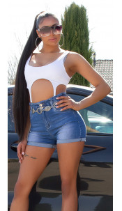 Sexy Highwaist Jeans Shorts with elastic band Blue