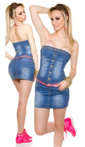 Sexy bandeau jeansdress with belt Jeansblue