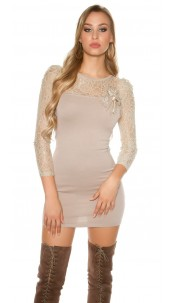 Sexy knitdress with lace and flower-brooch Beige