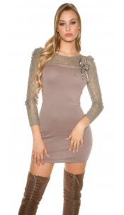 Sexy knitdress with lace and flower-brooch Cappuccino