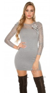 Sexy knitdress with lace and flower-brooch Grey