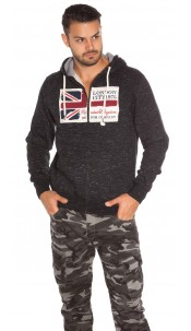 Trendy Men s Hooded Sweater with Patch Black