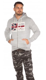 Trendy Men s Hooded Sweater with Patch Grey