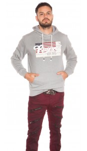 Trendy Mens Hoodie with Pocket & Patches Grey