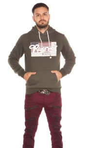 Trendy Mens Hoodie with Pocket & Patches Khaki