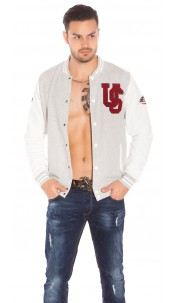Trendy Mens Baseball Jacket Grey