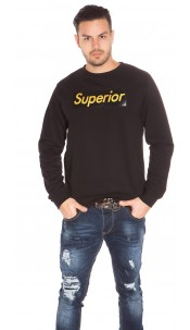 Trendy Mens Basic Jumper w. Print Black