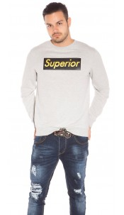 Trendy Mens Basic Jumper w. Print Grey