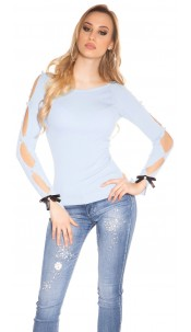Sexy round neck pullover with beads and slit Babyblue