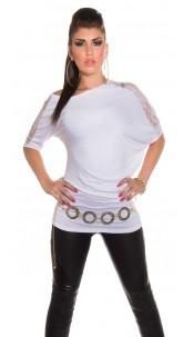 Sexy KouCla bat shirt asymmetric White