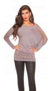 Trendy Koucla longarm-shirt with lace Cappuccino