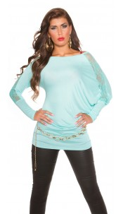 Trendy Koucla longarm-shirt with lace Mint