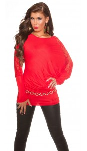 Trendy Koucla longarm-shirt with lace Red