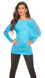 Trendy Koucla longarm-shirt with lace Turquoise