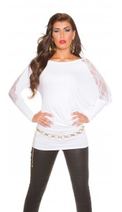 Trendy Koucla longarm-shirt with lace White