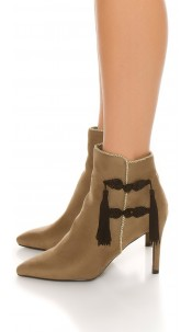 Sexy ankle boot decorative cord&gold embellishment Khaki