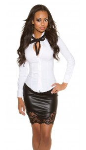 Sexy blouse with bow to tie Up White