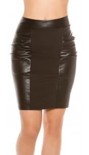 Sexy mini skirt in leather look Black