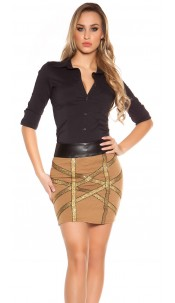 Sexy Knited-Miniskirt with golden glitter-stripes Cappuccino