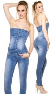 Sexy 5-pocket bandeau jumpsuit Jeansblue