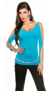 Sexy longsleeve with open sleeves and rhinestones Turquoise