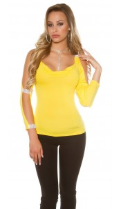 Sexy longsleeve with open sleeves and rhinestones Yellow
