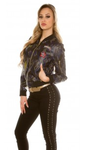 Trendy leatherlook Fly jacket in camouflage Army