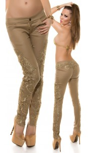 Sexy KouCla lether look pants with embroidery Beige