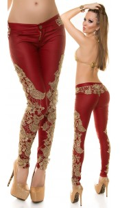 Sexy KouCla lether look pants with embroidery Red