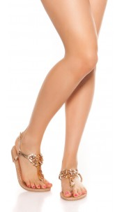 Trendy toe sandals with rhinestones Champagne