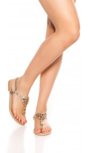 Trendy toe sandals with rhinestones Gold