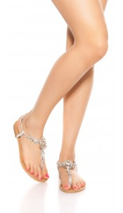 Trendy toe sandals with rhinestones Silver