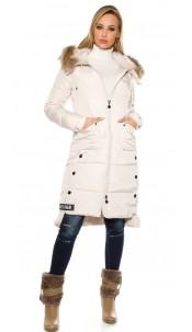 Trendy winter mantel met capuchon beige