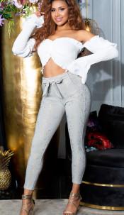 Sexy hoge taille broek met goud details grijs