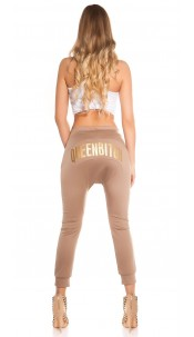 Trendy Koucla jogging pants QUEENBITCH  Cappuccino