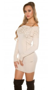 Sexy studded knitminidress Beige