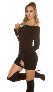 Sexy studded knitminidress Black