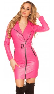 Sexy Leather Look Mini Dress With Belt Fuchsia